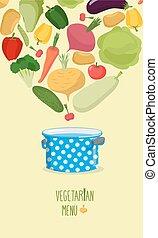 Vegetarian menu. Cook vegetables in the pan. Vegetables come...