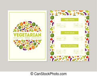 Vegetarian Menu Design Template, Main Dishes, Fresh Salads, Hot and Cold Drinks, Cafe or Restaurant identity Vector Illustration