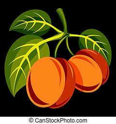 Vegetarian organic food simple illustration, two vector ripe...