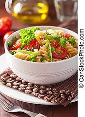 vegetarian pasta fusilli with tomato peas herbs