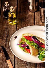 Vegetarian Pita Bread Sandwich