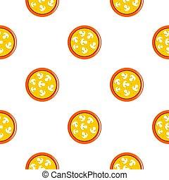 Vegetarian pizza with mushrooms pattern flat