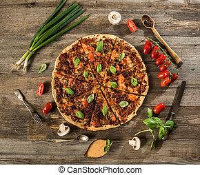 Vegetarian pizza with mushrooms