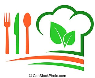 vegetarian restaurant emblem with green leaf and cutlery