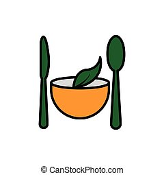 Vegetarian restaurant flat icon. spoon, knife, leaf icon on top of bowl. Design template vector