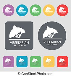 vegetarian restaurant icon sign. A set of 12 colored buttons. Flat design. Vector