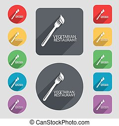 vegetarian restaurant icon sign. A set of 12 colored buttons and a long shadow. Flat design. Vector