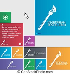 vegetarian restaurant icon sign. buttons. Modern interface website buttons with cursor pointer. Vector