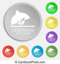 vegetarian restaurant icon sign. Symbol on eight flat buttons. Vector