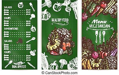 Vegetarian restaurant menu template on chalkboard