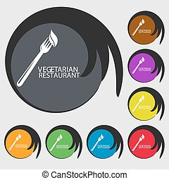 vegetarian restaurant sign icon. Symbols on eight colored buttons. Vector
