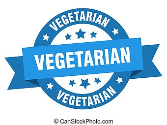 vegetarian round ribbon isolated label. vegetarian sign