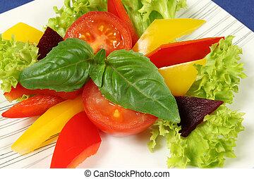 Vegetarian salad - Fresh, colorful vegetarian salad with ...