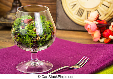 Vegetarian salad in glass