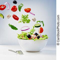 vegetarian salad - Fresh vegetarian salad on the plate