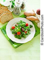 Vegetarian Salad - delicious vegetarian salad on green...