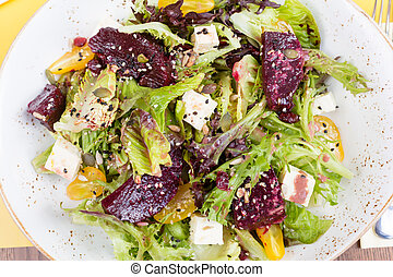 Vegetarian salad with beetroot in the restaurant - Salad of...