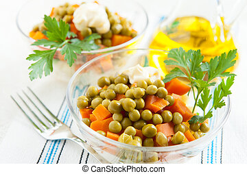 Vegetarian salad with canned green peas and boiled ...