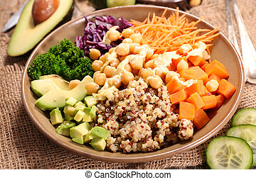 vegetarian salad with vegetable and quinoa