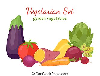 Vegetarian set, garden vegetables - tomato, eggplant, potato, carrot, pepper, artichoke
