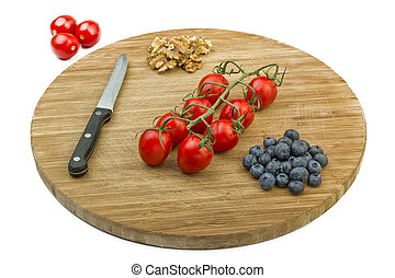 Vegetarian Snack on Wooden Cutting Board
