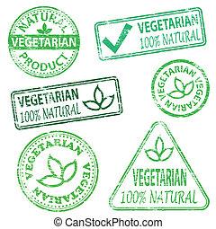 Vegetarian Stamps - Vegetarian and natural food. Rubber...