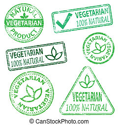 Vegetarian and natural food. Rubber stamp vector illustrations