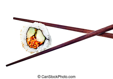 sushi - Vegetarian sushi California roll with rice and...