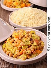 vegetarian tajine - couscous and vegetables
