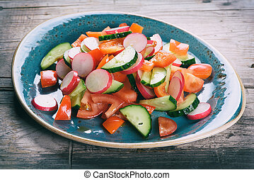 vegetarian vegetable salad on a plate
