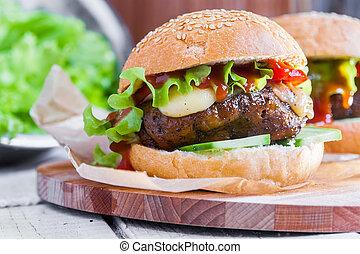 vegetarianer, burger, hos, den, seitan, -, vegan, kød