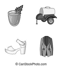 vegetarianism, shoes and other monochrome icon in cartoon style. oil, fashion icons in set collection.
