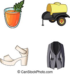 vegetarianism, shoes and other web icon in cartoon style. oil, fashion icons in set collection.