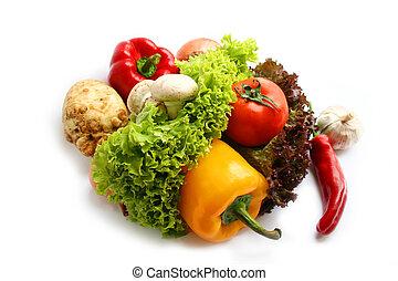 vegetariano, alimento.