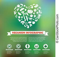 vegetariano, e, vegan, saudável, orgânica, infographic