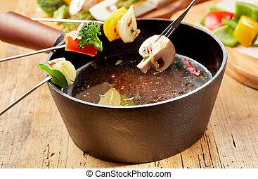 vegetariano, fonduta, con, cottura, forche