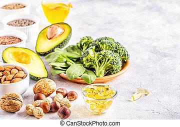 vegetariano, fuentes, 3, fats., omega, no saturado