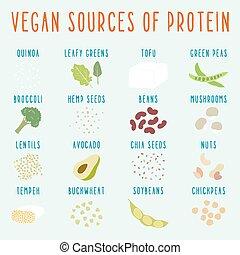 vegetariano, fuentes, protein.