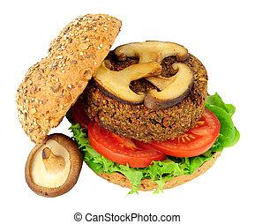 vegetariano, fungo, hamburger