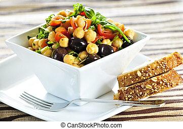 vegetariano, garbanzo, ensalada