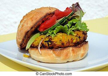 vegetariano, grão-de-bico, burger.