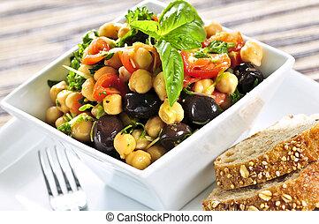 vegetariano, grão-de-bico, salada