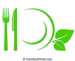 vegetariano, icono, con, hojas, tenedor, y, cuchillo