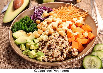 vegetariano, insalata, con, verdura, e, quinoa