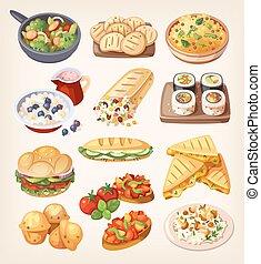 vegetariano, jogo, coloridos, alimento.