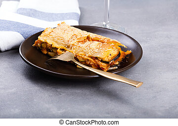 vegetariano, lasanha, ligado, a, prato