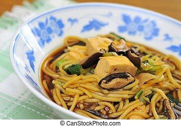 vegetariano, noodles, closeup