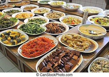 vegetariano, pasto, buffet