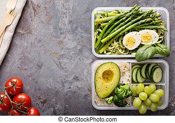 vegetariano, pasto, preparazione, contenitori, con, pasta, e, verdura