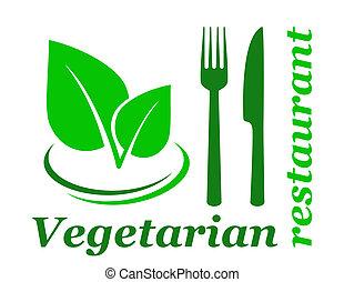 vegetariano, ristorante, segno
